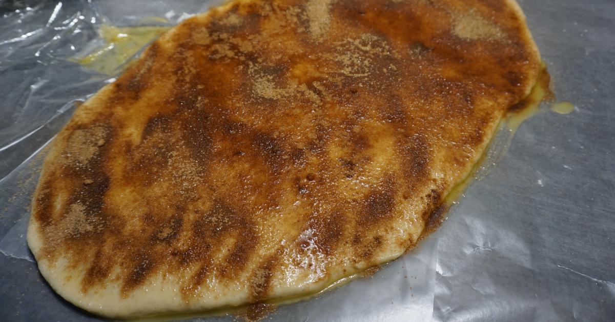 Vegan Cinnamon Rolls - Dough with Cinnamon and Sugar