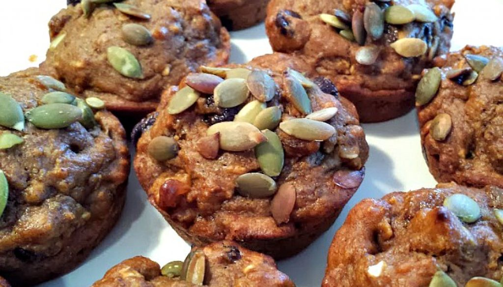 vegan pumpkin flaxseed muffins
