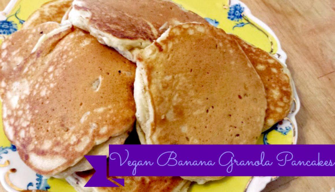 vegan banana granola pancakes