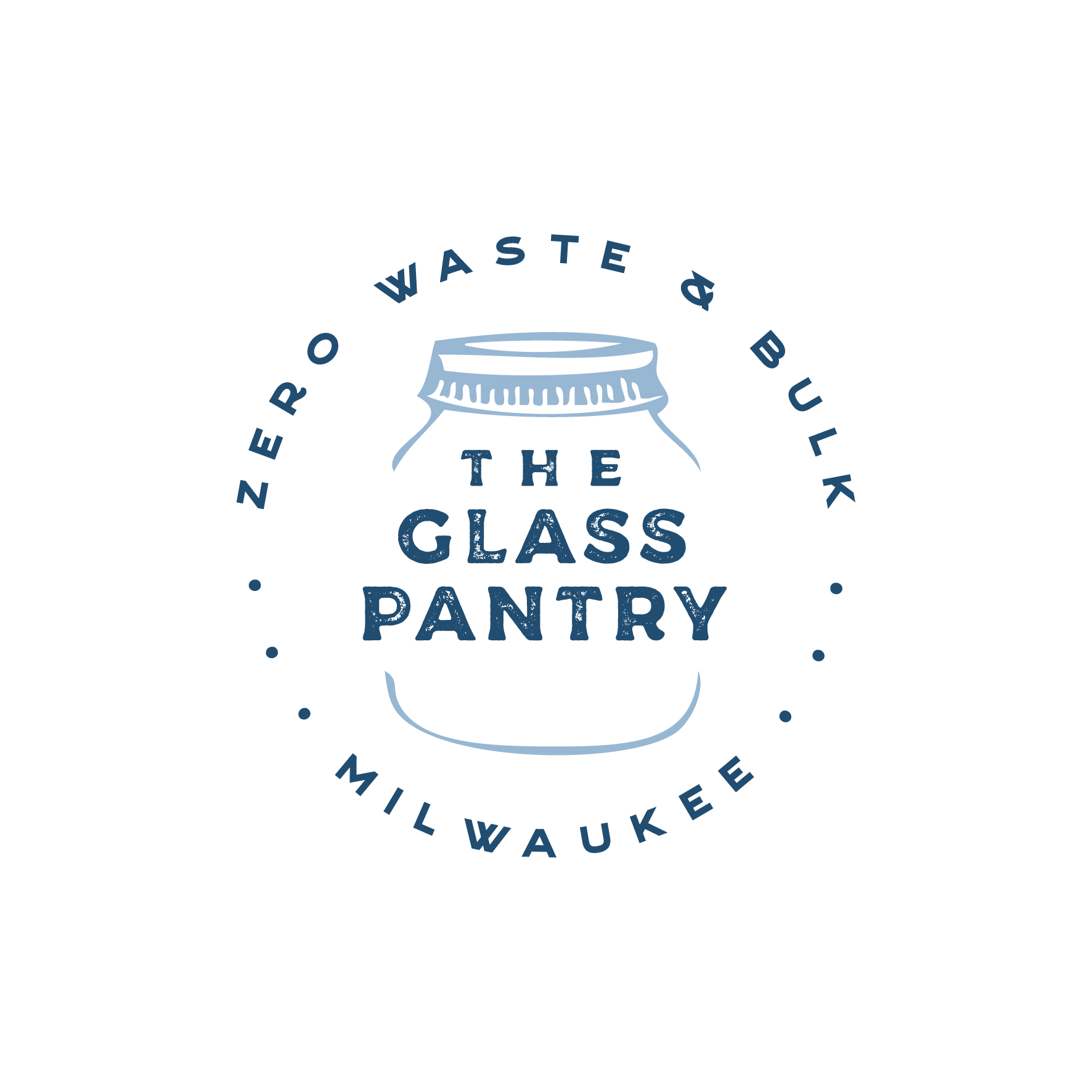 the glass pantry logo - dark blue writing on a white background