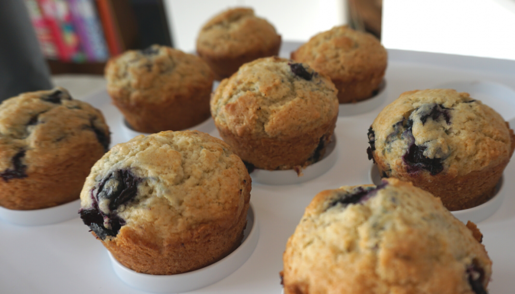Vegan frozen blueberry muffins on a tray
