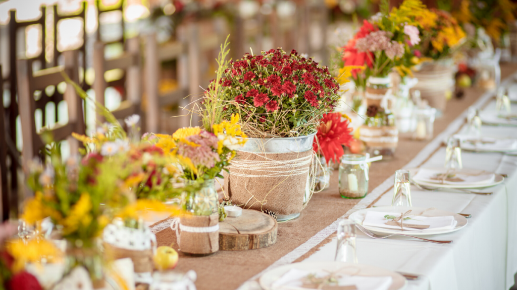 Image of a wedding table with flowers and empty place settings