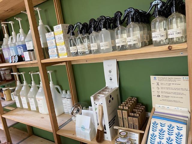 The glass pantry stocked shelves
