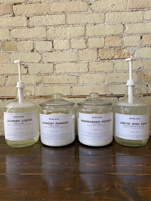 The Glass Pantry pictures of glass jars with cleaning supplies