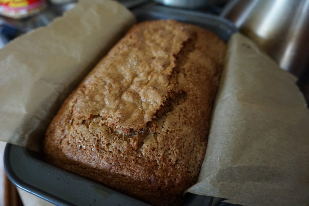 Sourdough Starter Waste Dairy-Free Banana Bread - Picture of finished product in pan