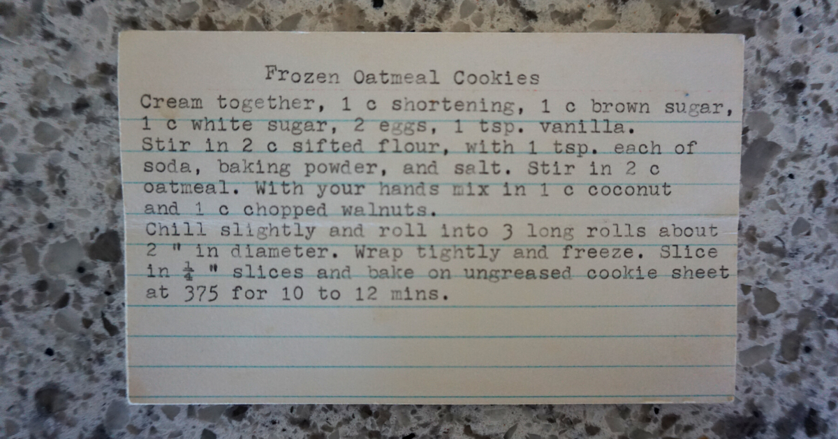 Vegan frozen oatmeal cookies - a picture of my grandmother's recipe card